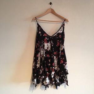 Free People black floral Dress L